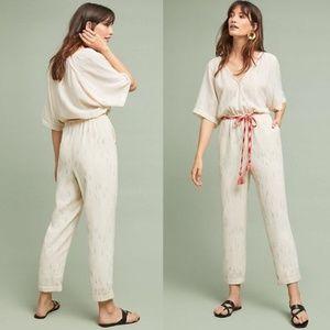 Feather & Bone Striped Short Sleeve Jumpsuit